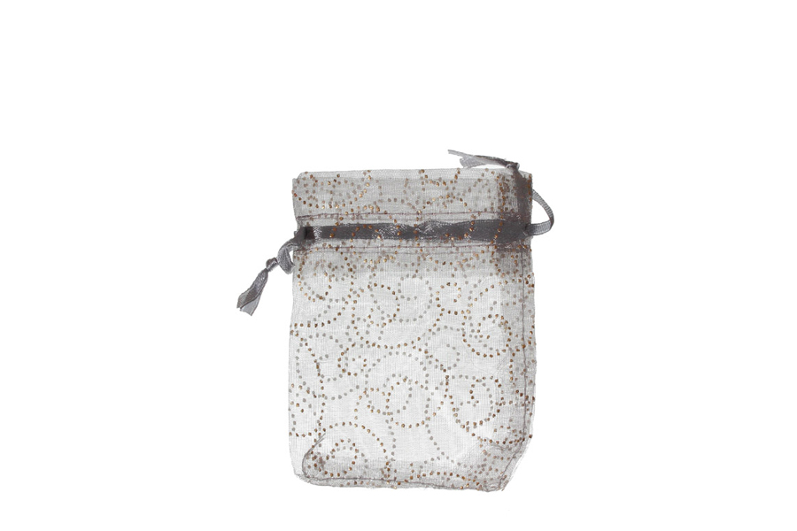Silver with Pattern Swirls Organza Bags. Pack of 100. Dimensions 9cm(W) x 13cm(H).