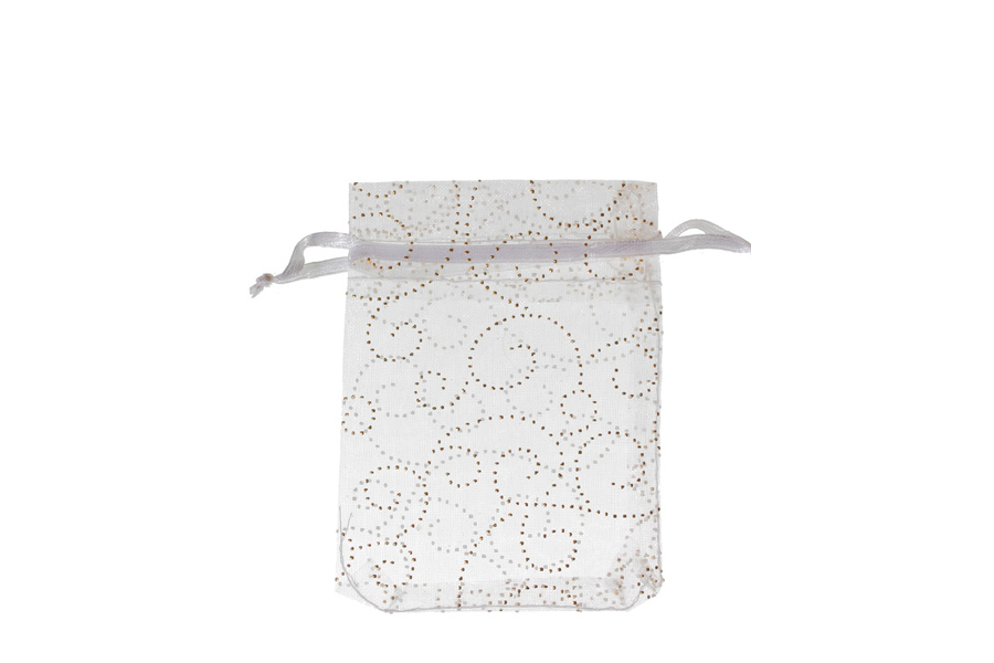White with Pattern Swirls Organza Bags. Pack of 100. Dimensions 9cm(W) x 13cm(H).