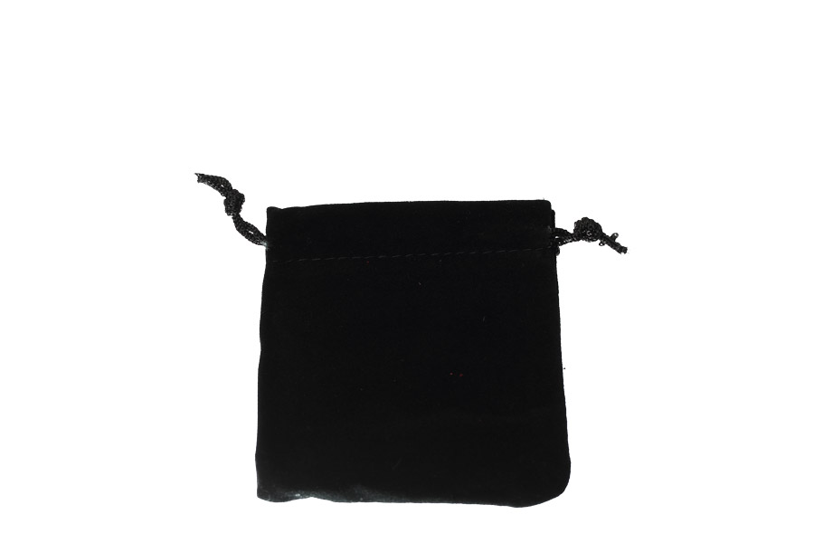 Velvet Bags Small Black Colour. Price for 100 bags. Dimensions 8cm(W) x 9cm(H).