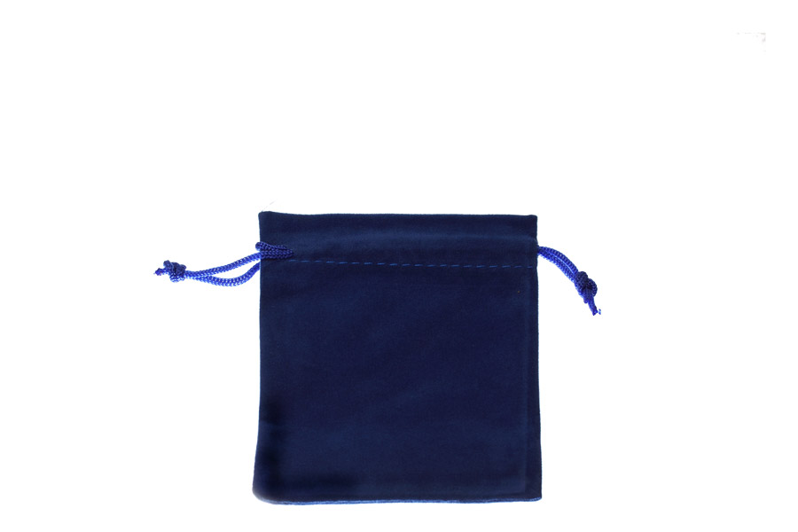 Velvet Bags Small Blue Colour. Price for 100 bags. Dimensions 8cm(W) x 9cm(H).