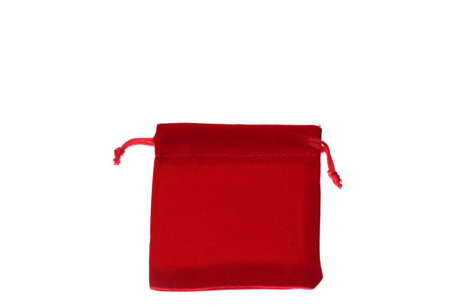 Velvet Bags Small Red Colour. Price for 100 bags. Dimensions 8cm(W) x 9cm(H).