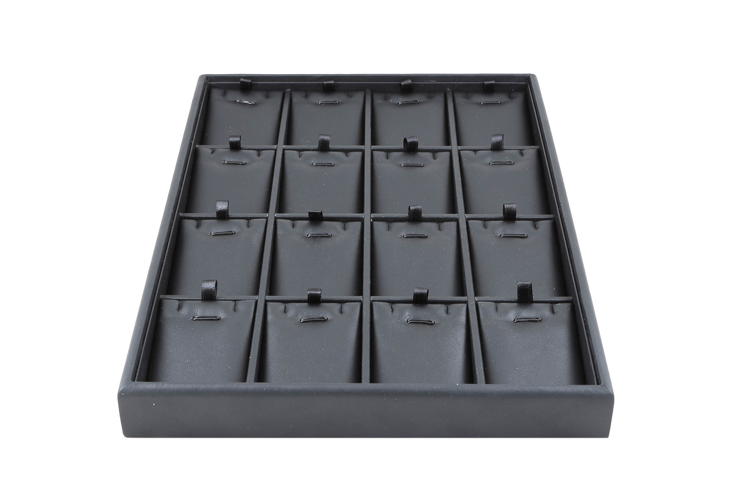 1 x Black Premium Padded Leatherette Earring, Necklace and Pendant Tray. 16 Compartments. Stackable. Dim 315 x 225 x 30mm(h).