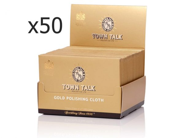 Wholesale Box Of 50 Instant Use Gold Polishing Cloth By Mr Town Talk 12.5cm X 17.5cm