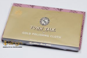 TOWN TALK LARGE GOLD POLISHING CLOTH. 30CM X 45CM. IMPREGNATED.
