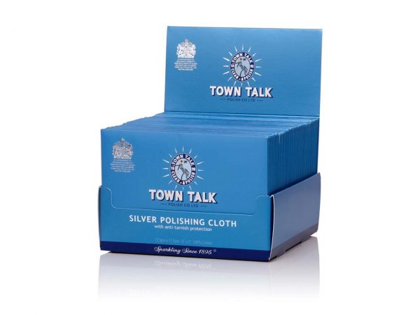 Bulk wholesale box of 50 Mr Town Talk – Original Silver Cloth 12.5 x 17.5cm. For Silver and Stainless Steel Watches