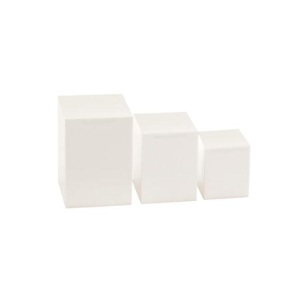 Acrylic Jewellery Riser 3 Piece Set in white